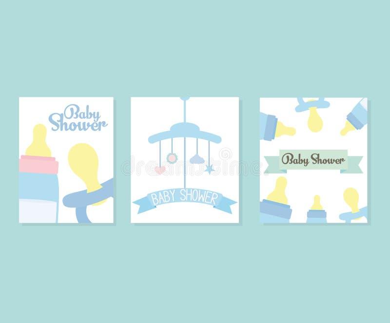 Ajuste dos cartões da festa do bebê com acessórios ilustração do vetor