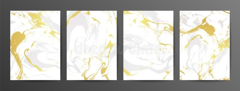 Ajuste dos cartões de mármore criativos cinzentos e do ouro Texturas tiradas mão do vetor feitas com tinta líquida ilustração stock