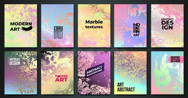 Ajuste dos cartões de mármore criativos coloridos As texturas entregam tirado fizeram com tinta especial Aplicável para a tampa d ilustração stock