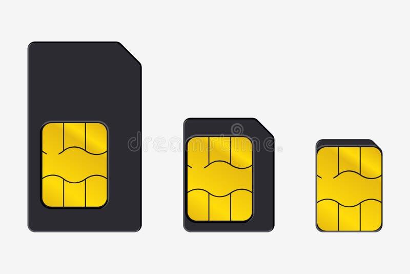 Ajuste dos cartões de SIM de tamanhos diferentes Ícone realístico do vetor Isolado ilustração do vetor