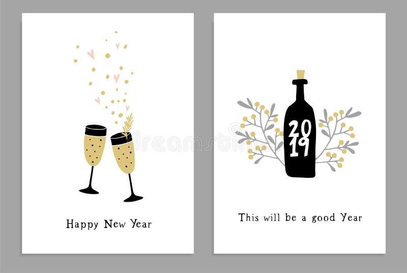 Ajuste dos cartões do ano novo feliz, dos convites do partido com vidros de vinho tirados mão, da garrafa e das estrelas dos conf ilustração royalty free