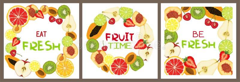Ajuste dos cartões do vetor com fatias do fruto e mensagem de texto naturais ilustração royalty free