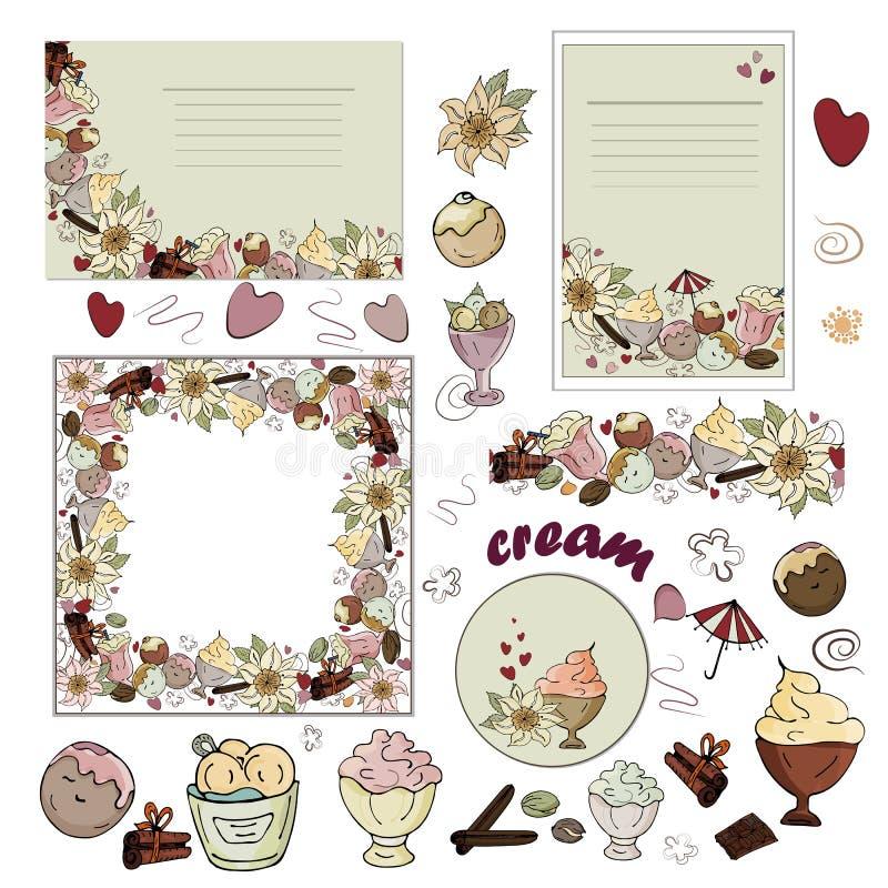 Ajuste dos cartões, escova sem emenda, imagens isoladas do gelado, chocolate, baunilha, canela em um fundo branco ilustração stock