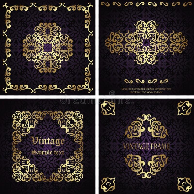 Ajuste dos cartões luxuosos do vintage do vetor com fundos sem emenda ilustração royalty free