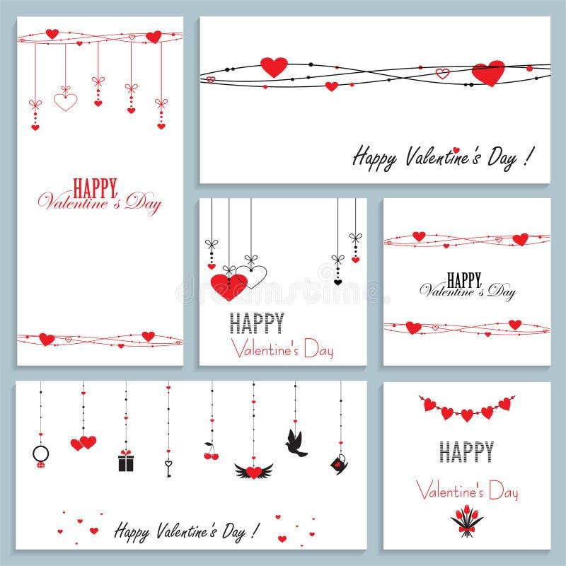 Ajuste dos cartões para o dia de Valentim, ilustração do vetor do projeto liso ilustração royalty free