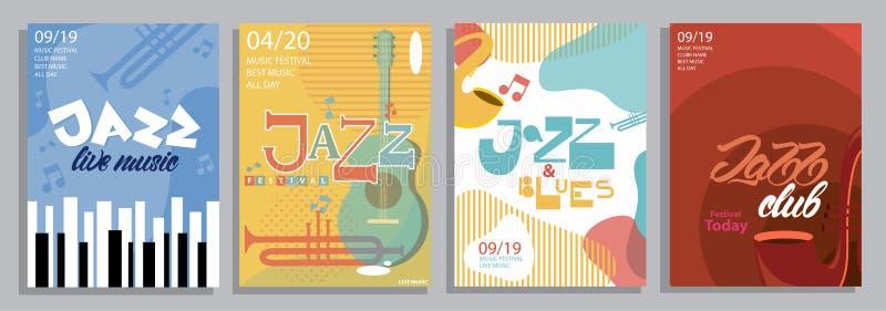 Ajuste dos cartazes do jazz com rotulação do estilo, dos instrumentos de música e das ilustrações azuis Vetor ilustração stock