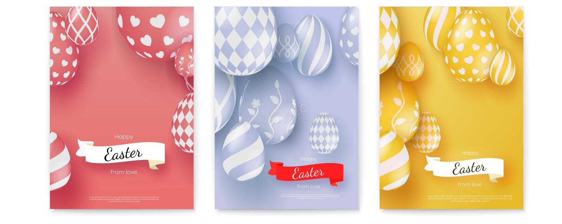 Ajuste dos cartazes do vetor por feriados felizes da Páscoa Bandeira criativa em mono cores minimalistic na moda Fita do vintage  ilustração stock