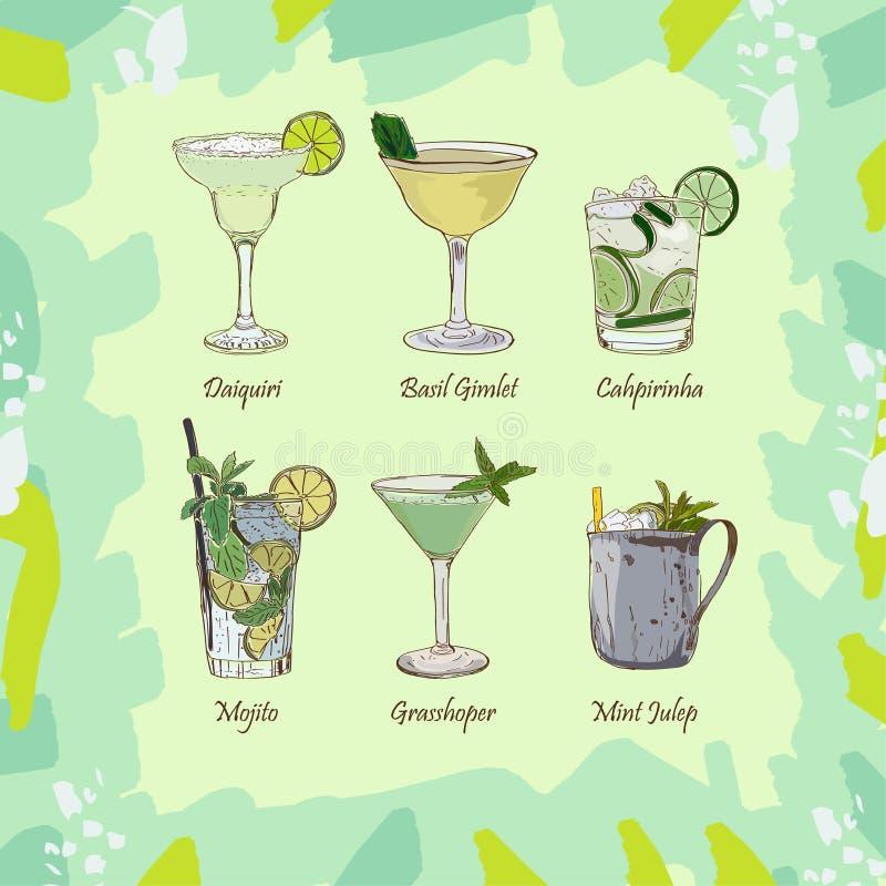 Ajuste dos cocktail clássicos no fundo verde abstrato Menu fresco das bebidas alcoólicas da barra Coleção da ilustração do esboço ilustração stock