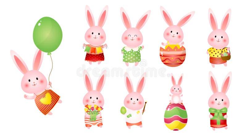 Ajuste dos coelhinhos da Páscoa bonitos com balão, presente, bandeiras, flores e ovos como o feriado da prontidão ilustração do vetor