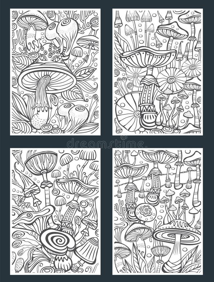 Ajuste dos cogumelos que colorem a página antistress do livro ilustração stock
