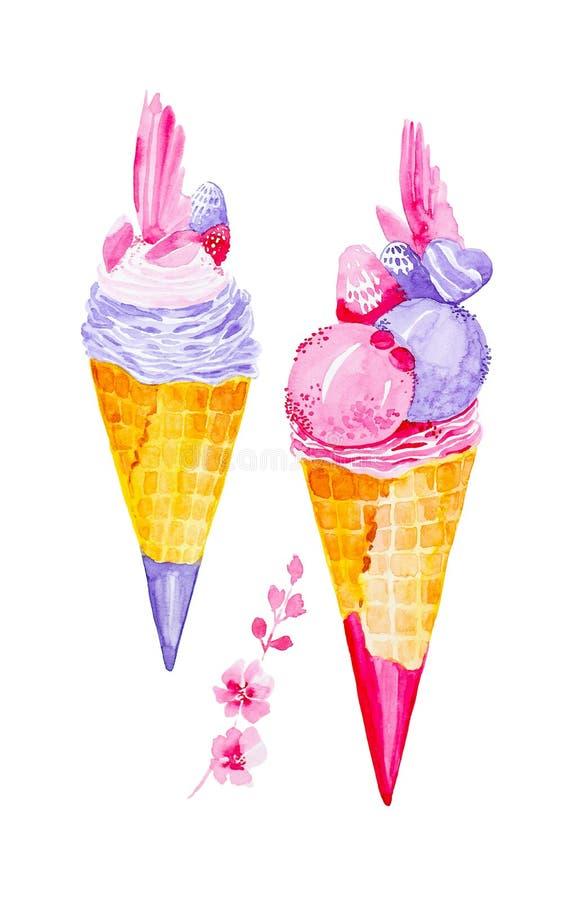 Ajuste dos cones de gelado e dos galhos diferentes com flores cor-de-rosa Ilustra??o da aquarela isolada no fundo branco ilustração stock
