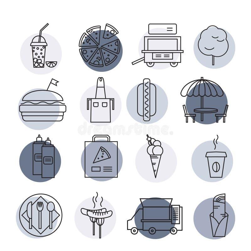 Ajuste dos ?cones simples do fast food Ilustração do vetor do curso do esboço com círculos coloridos ilustração royalty free