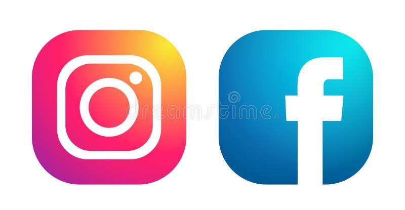 Ajuste dos ?cones sociais populares Instagram dos logotipos dos meios e do vetor do elemento do facebook no fundo branco nas ilus ilustração stock