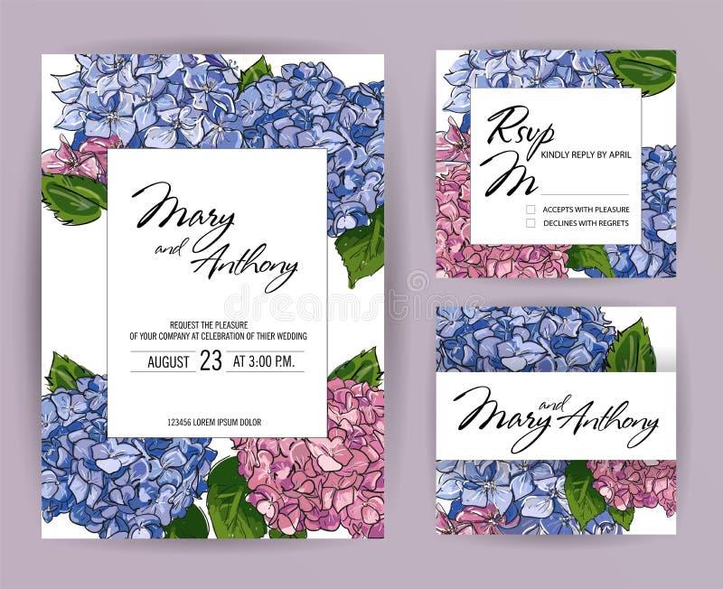Ajuste dos convites do casamento, hortênsia convidam o projeto de cartão A5: Ilustração colorida tirada mão da pena da escova do  ilustração do vetor