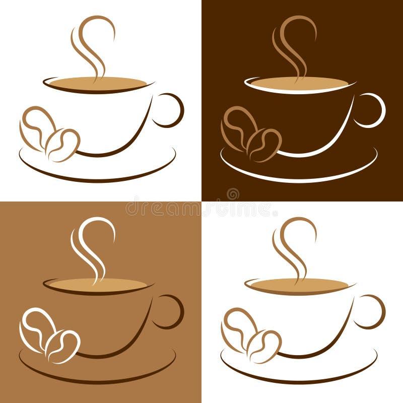 Ajuste dos copos de café e feijões de café Brown e branco tirados ilustração royalty free