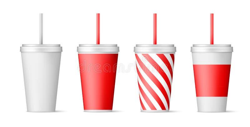 Ajuste dos copos de papel para a soda com palha Ilustra??o do vetor isolada no fundo branco ilustração stock