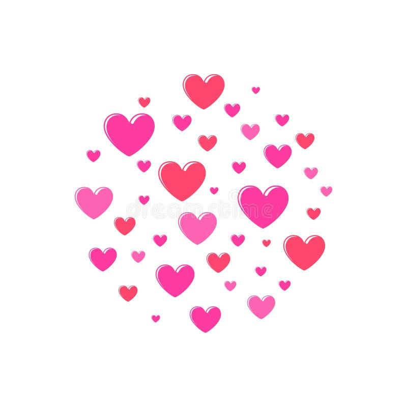 Ajuste dos corações dos desenhos animados para a ilustração do dia de Valentim Símbolo ilustração do vetor
