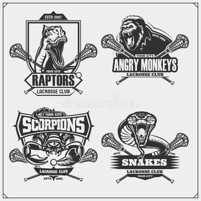 Ajuste dos crach?s da lacrosse, das etiquetas e dos elementos do projeto O clube de esporte simboliza com leão, cobra, dinossauro ilustração do vetor