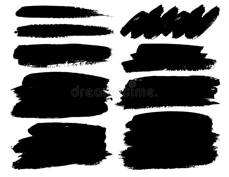 Ajuste dos cursos da escova, cursos de tinta preta da escova do grunge ilustração royalty free