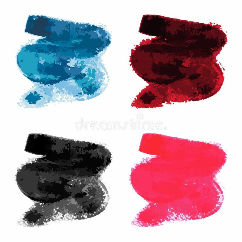 Ajuste dos cursos diferentes da escova da tinta, linhas da escova, redemoinhos, borrões foto de stock royalty free