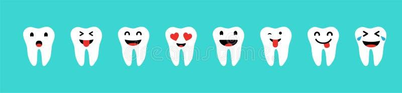 Ajuste dos dentes com emoções na cor branca no fundo azul Dentes felizes ajustados Ícones do dente ilustração royalty free