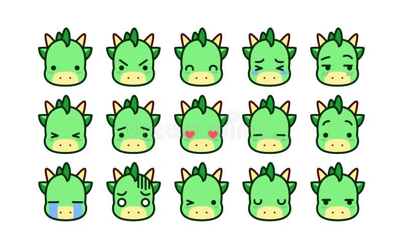 Ajuste dos desenhos animados bonitos Dragon Icons Isolated ilustração do vetor