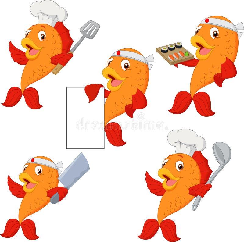 Ajuste dos desenhos animados dos peixes do cozinheiro chefe ilustração royalty free