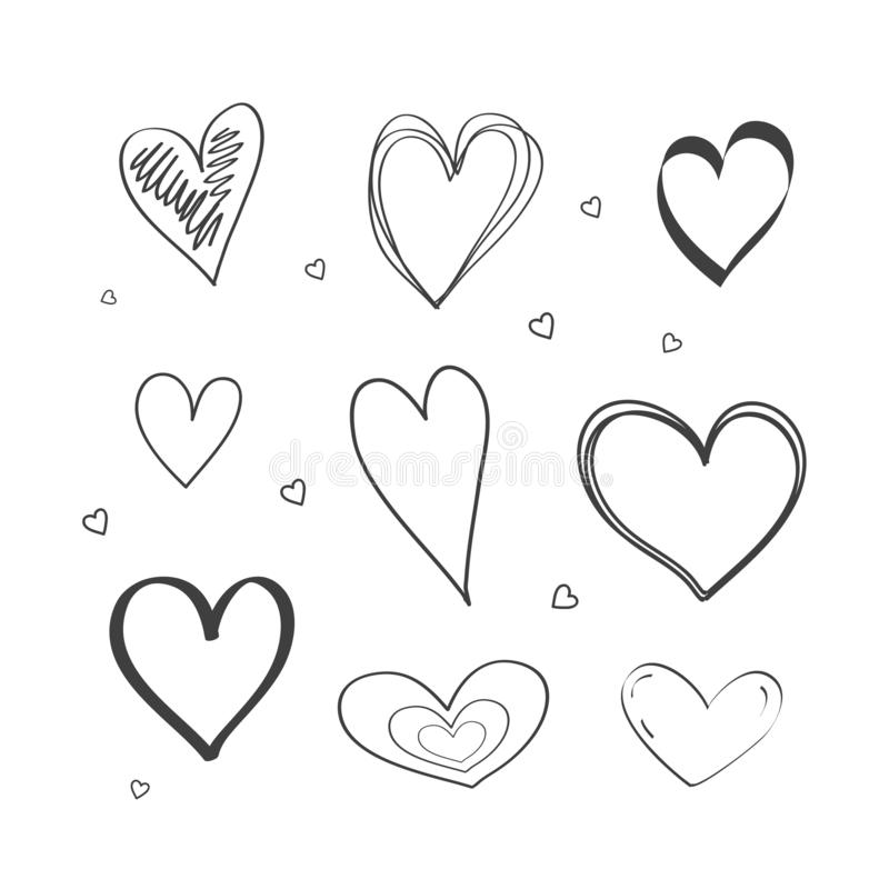 Ajuste dos desenhos do coração o estilo da garatuja Face das mulheres Hand-drawn de illustration Vetor ilustração royalty free
