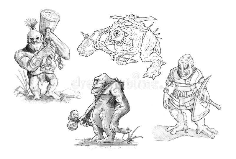 Ajuste dos desenhos do lápis ou da tinta de vários monstro da fantasia ilustração do vetor
