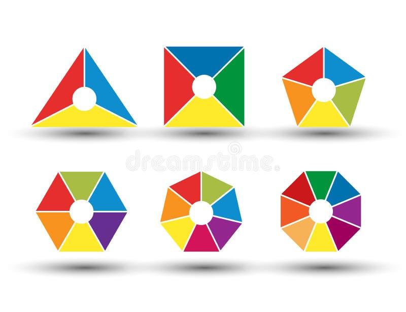Ajuste dos diagramas segmentados com 3, 4, 5, 6, 7 e 8 porções de formas e de configurações diferentes ilustração do vetor