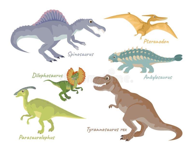 Ajuste dos dinossauros bonitos dos desenhos animados isolados no fundo branco ilustração do vetor