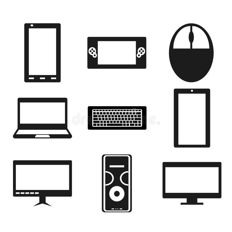 Ajuste dos dispositivos populares Ilustração do vetor Ícones ilustração royalty free