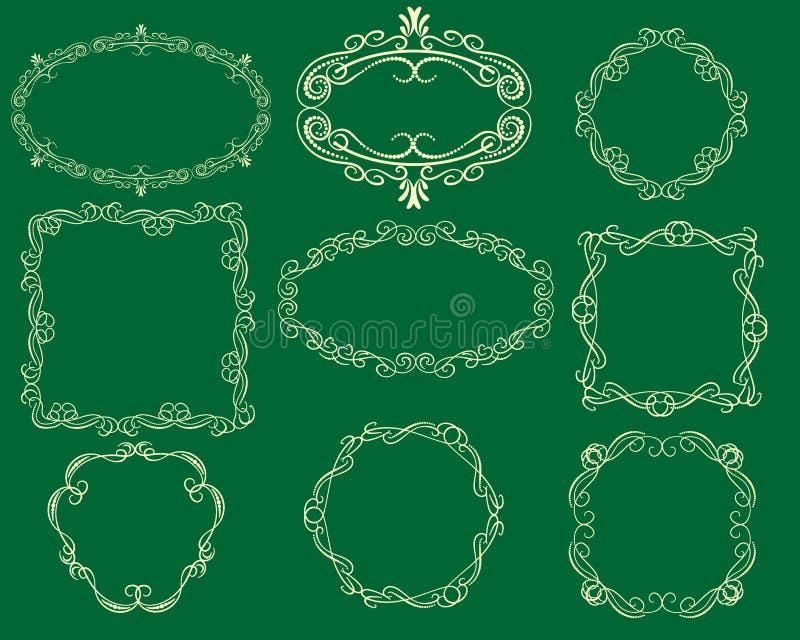 Ajuste dos divisores florish decorativos, beiras para cartões ilustração royalty free
