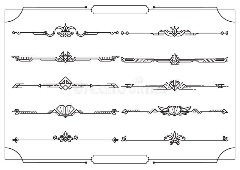 Ajuste dos divisores na beira, elementos decorativos do projeto do vetor ilustração do vetor