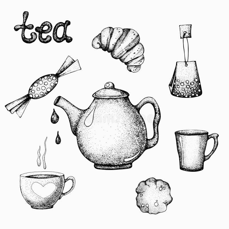 Ajuste dos doces da caneca do copo do bule dos artigos do chá no estilo gráfico Ilustração do vetor para o projeto da etiqueta, f ilustração do vetor