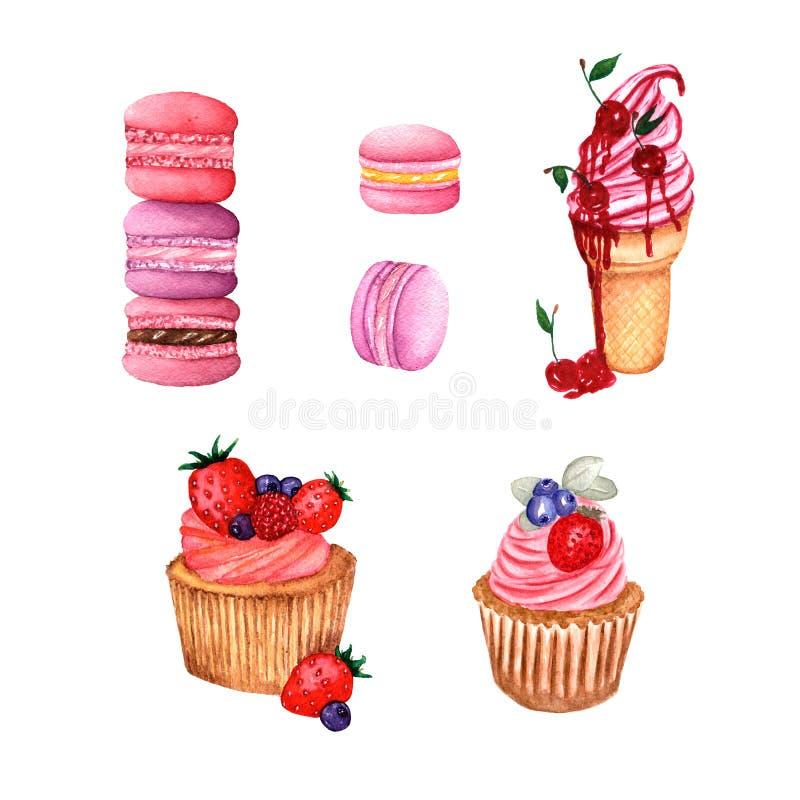 Ajuste dos doces, da ilustração do gelado com bagas, dos queques com creme e bagas e do gosto defferent dos bolinhos de amêndoa ilustração royalty free