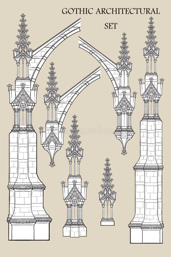 Ajuste dos elementos arquitetónicos góticos medievais Suportes de voo, torres ornamentados ilustração do vetor