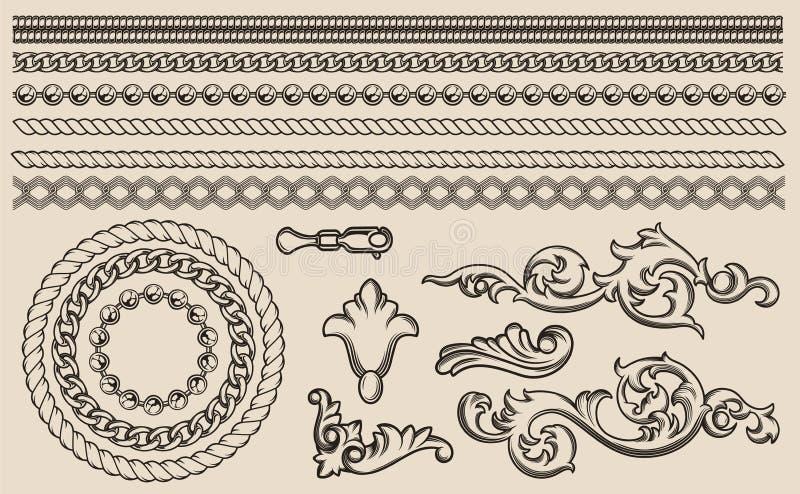 Ajuste dos elementos barrocos do vetor, correntes para o projeto ilustração stock