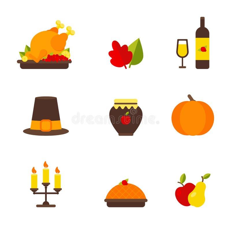Ajuste dos elementos da ação de graças: galinha, folha do outono, garrafa de vinho e vidro de vinho, chapéu, doce da maçã, abóbor ilustração royalty free
