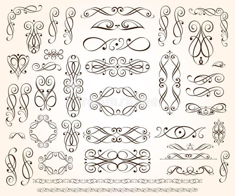 Ajuste dos elementos decorativos elegantes do rolo Ilustra??o do vetor preto ilustração stock