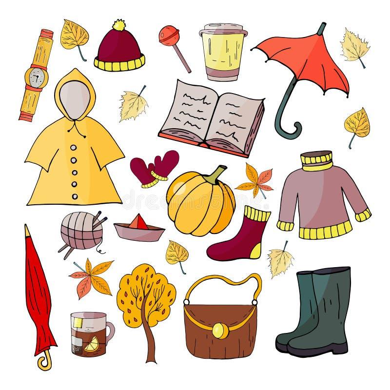 Ajuste dos elementos desenhados à mão do outono em um fundo branco, ilustração do vetor