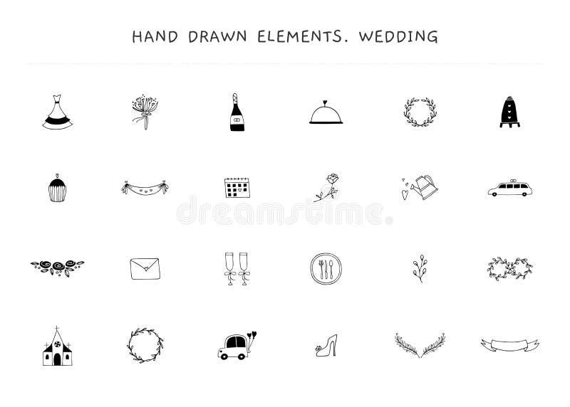 Ajuste dos elementos do logotipo do casamento Objetos tirados mão do vetor ilustração stock