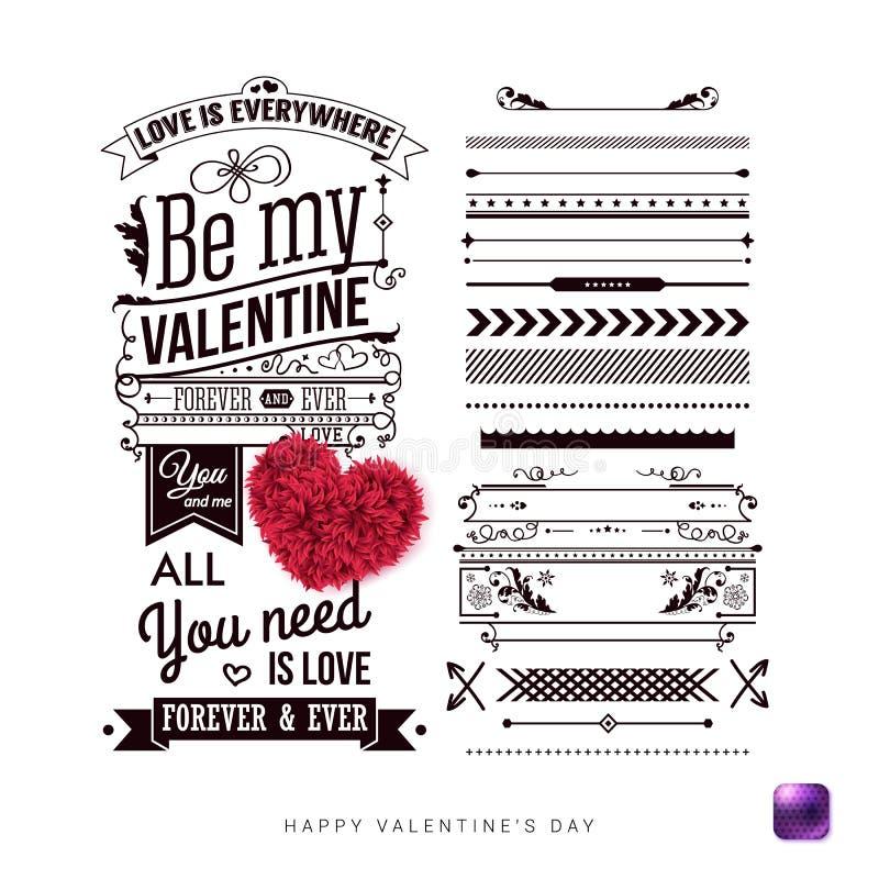 Ajuste dos elementos do projeto do estilo do vintage para seu cartão do dia de Valentim ilustração royalty free