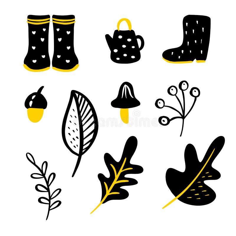 Ajuste dos elementos florais da garatuja do vetor Cole??o do outono Projeto gr?fico da flor Ervas, folhas, botas, bule e selvagem ilustração stock