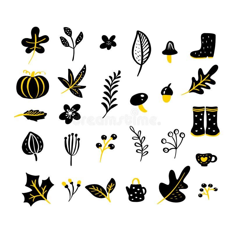 Ajuste dos elementos florais da garatuja do vetor Cole??o do outono Projeto gr?fico da flor Ervas, folhas, botas, copo e flores s ilustração royalty free