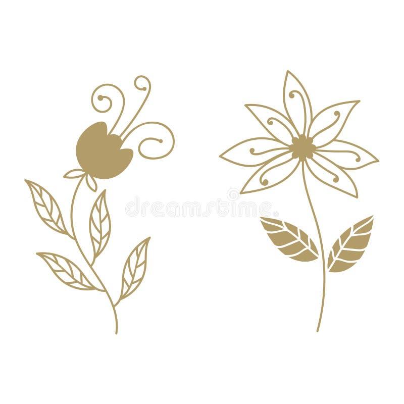 Ajuste dos elementos florais encaracolados do ouro, elemento da flor do sumário do paraíso ilustração do vetor