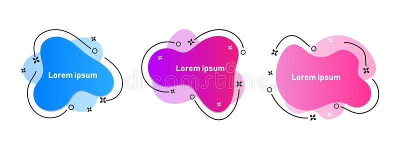 Ajuste dos elementos gráficos modernos do sumário com formulários e linha coloridos dinâmicos ilustração do vetor