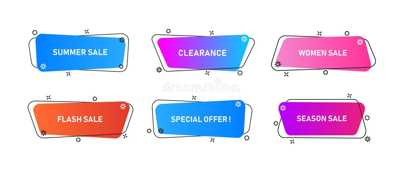 Ajuste dos elementos gráficos modernos do sumário com formulários e linha coloridos dinâmicos ilustração stock