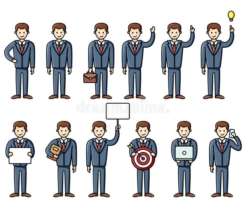 Ajuste dos elementos infographic do estilo liso diverso do homem de negócio das poses Grupo do trabalho do vetor characters ilustração do vetor
