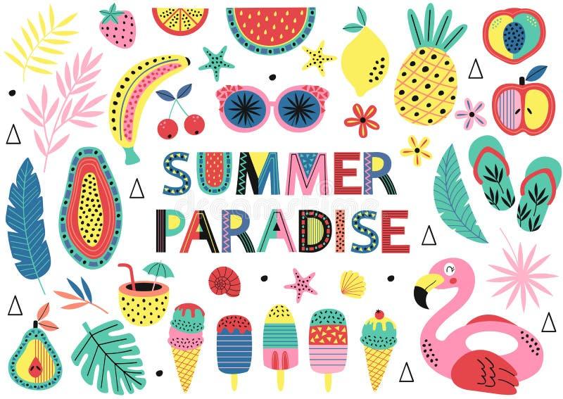 Ajuste dos elementos isolados do paraíso do verão ilustração stock